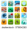 Set of a adventure icons - stock vector
