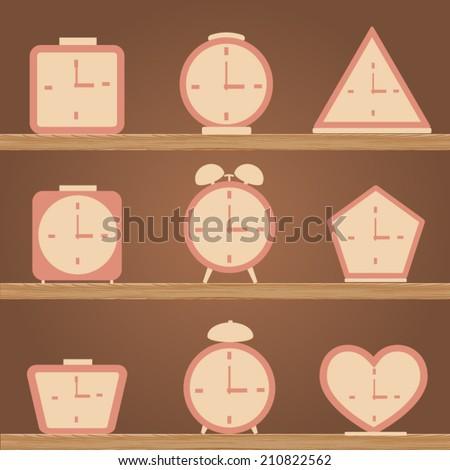 Set of a Alarm Clock, Simple Clocks Icons. Vector Illustration. - stock vector