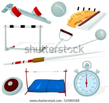 Set of a athletics tools and objects - stock vector