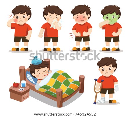 Set of A boy get sick. He has high temperature. stomach ache , Toothache. Vector illustration