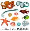 Set of a diving objects - stock vector