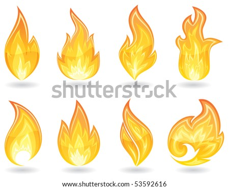 Set of a fire icons, illustration - stock vector