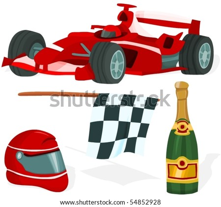 Set of a formula one accessories - stock vector
