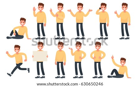 Set of a guy in casual clothes in different poses. A character for your project. Vector illustration in a flat style