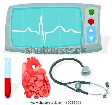 Set of a heart surgery accessories - stock vector