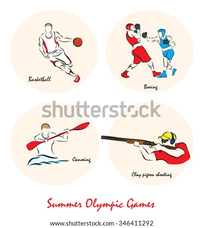 Set of a Illustration shows a Summer Olympic Sports. Basketball, Boxing, canoeing, clay pidgeon shooting