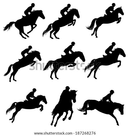 Set of a jumping horse with rider silhouettes - stock vector