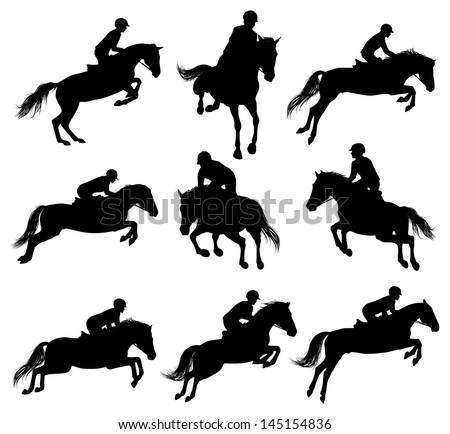 Set of a jumping horse with rider sulhouettes - stock vector