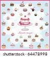 set of a lot of different cupcakes with a big cupcake on a plate - stock