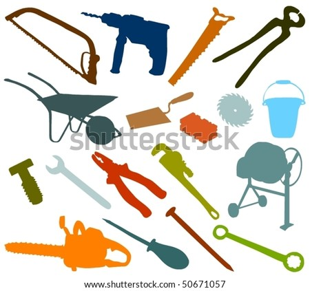 Set of a object, tools - stock vector
