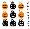 Set of a scary halloween pumpkin. - stock vector