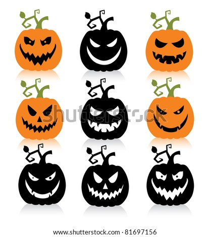 Set of a scary halloween pumpkin. - stock vector