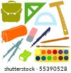 Set of a school accessories - stock vector