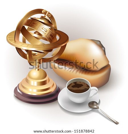 Set of a shell, a cup of coffee and navigation tools, isolated on white background - stock vector