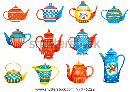 Set of a teapots on white background. Vector Illustration. - stock vector
