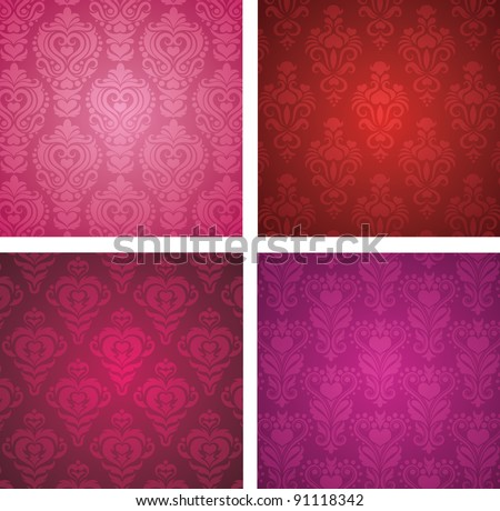 Set of a Valentine's day wallpapers. - stock vector