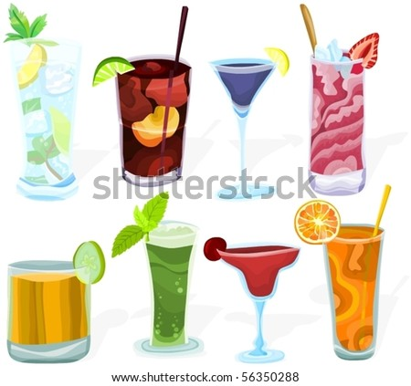 Set of a various cocktails A - stock vector