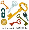 Set of a various keys - stock vector