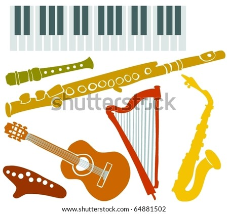 Set of a various musical instruments B - stock vector