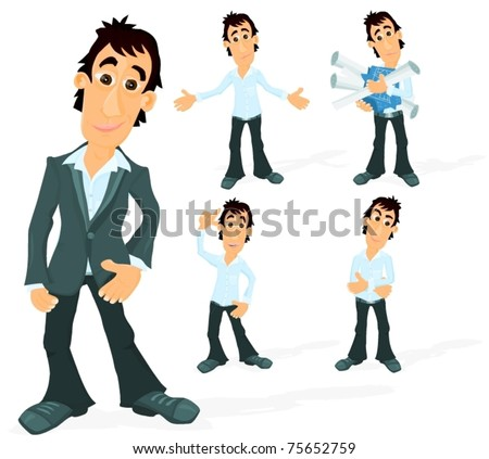 Set of a various poses of a man - stock vector