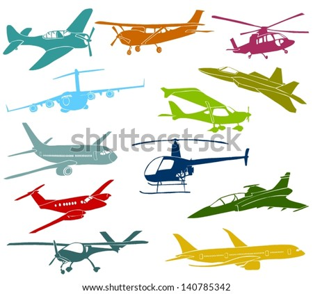 Set of a various type of a aircraft - stock vector