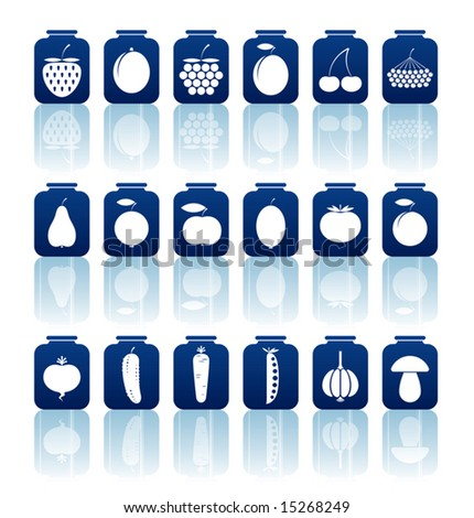 Set of a vector tinned goods icons. - stock vector