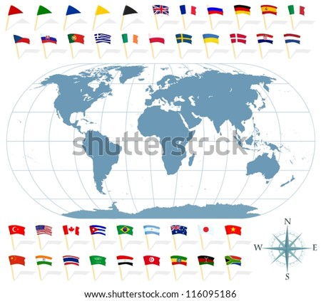 Set of a world map and various state flags - stock vector