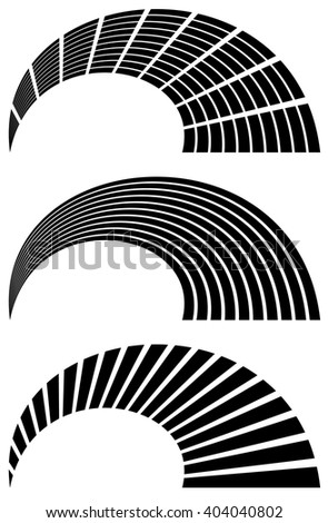 Set of abstract 3 abstract generic design elements. Grid of rectangles, horizontal, vertical lines with distortion. EQ, level indicator templates - stock vector