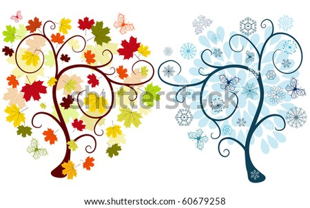 Set of abstract  autumn and winter trees on a white background for design (vector) - stock vector