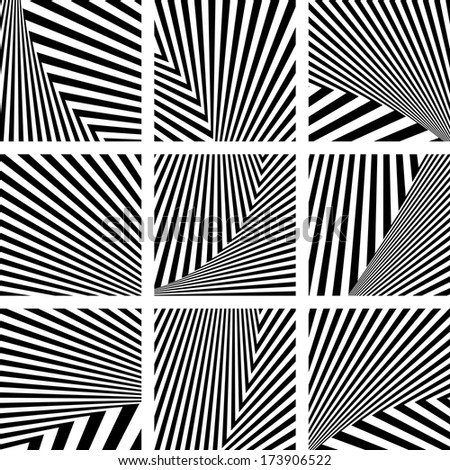 Set of abstract backdrops in striped design. Vector art. - stock vector