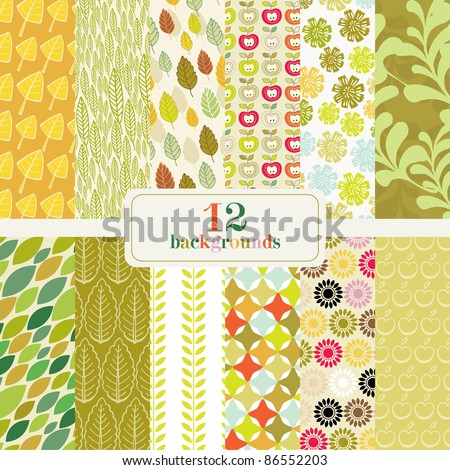 set of 12 abstract backgrounds - stock vector