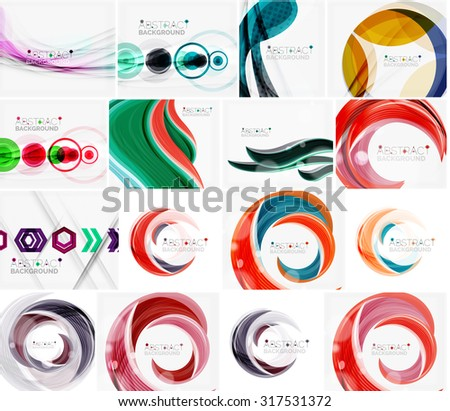 Set of abstract backgrounds. Circles, swirls and waves with copyspace for your message. Banner advertising layouts - templates, identity and wallpapers - stock vector
