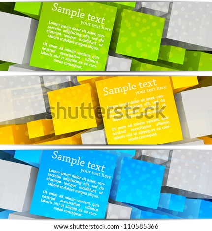 Set of  abstract banners with colorful 3d cubes - stock vector
