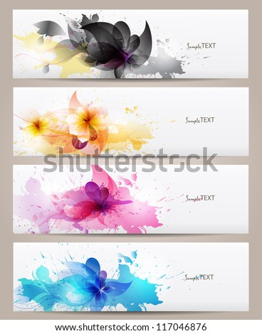 Set of abstract  banners with flowers colorful elements and blots. Vector design - stock vector