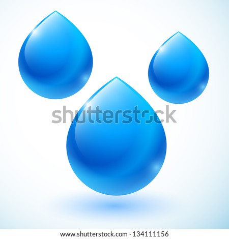 set of abstract blue drops - stock vector
