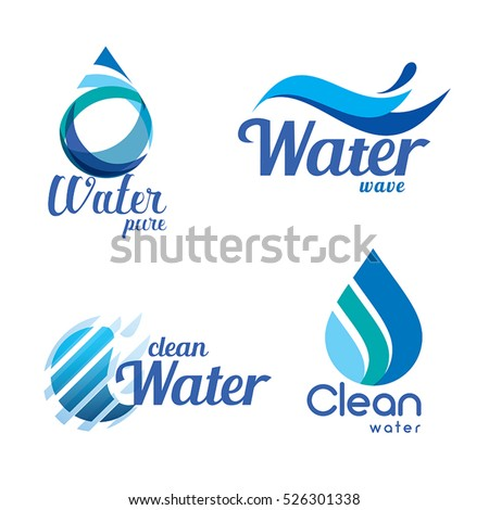 Set Abstract Blue Symbols Water Drops Stock Vector 526301338