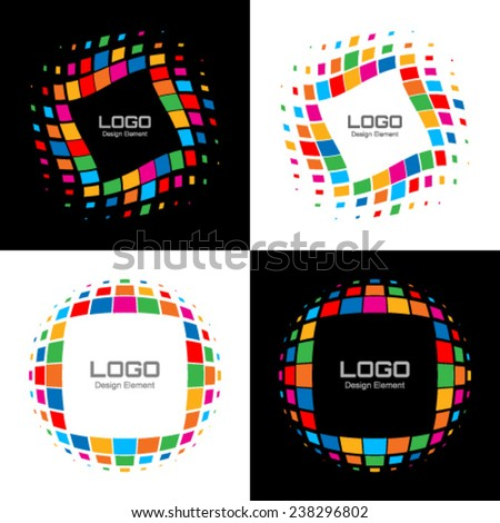 Set of Abstract Bright Rainbow Halftone Logo, vector illustration  - stock vector