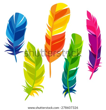 Set of abstract bright transparent feathers on white background. - stock vector