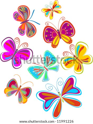 set of abstract butterflies - vector