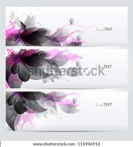 Set of abstract cards with flowers black elements with blots. Vector design. - stock vector