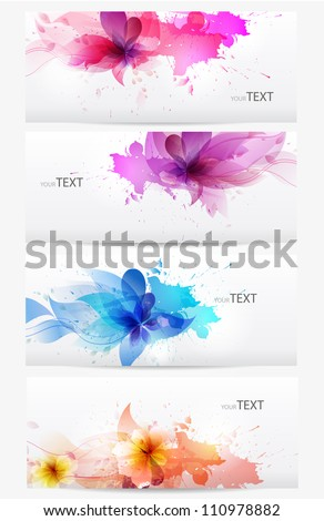 Set of abstract cards with flowers  colorful elements with  blots.  Vector design - stock vector