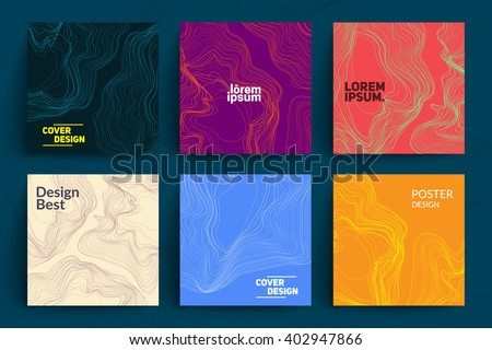 Set of Abstract Cards with Liquid Lines. Applicable for Covers, Placards, Posters, Flyers and Banner Designs. - stock vector