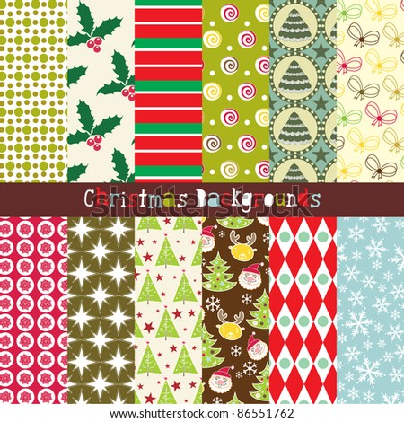 set of 12 abstract Christmas backgrounds - stock vector