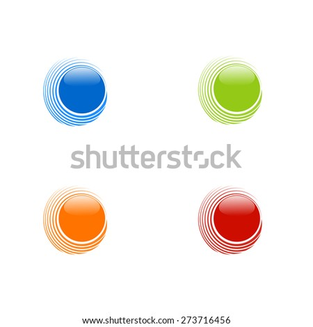 Set of abstract circles on white background, blue, orange, red and green colors, neat design logo set, clean modern concept.  Icons, design elements.  Vector. - stock vector