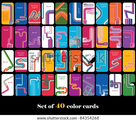 Set of abstract color cards - stock vector