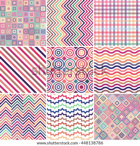 Set of abstract colorful  background, 9 geometric pattern, vector illustration. Texture can be used for printing onto fabric and paper. Pastel pink color.  - stock vector