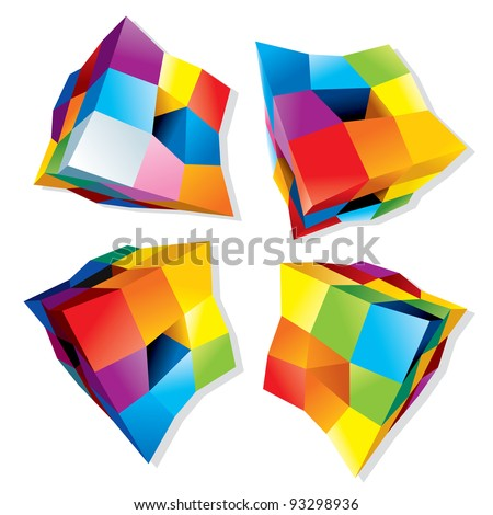 Set of Abstract Colorful Cubes, 3D Vector Design Elements or Logos - stock vector