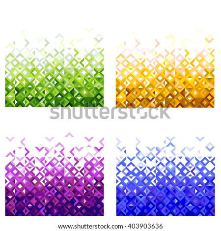 set of abstract colorful mosaic mix geometric pattern design, tone of color gradation below to top part, vector illustration - stock vector