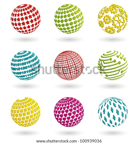 Set of abstract colorful planet icons. Vector  illustration. - stock vector