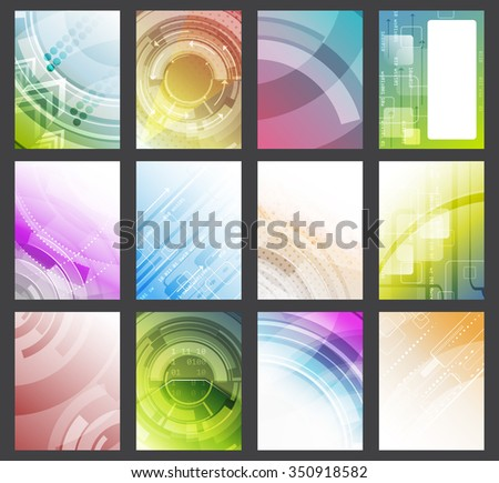Set of abstract colorful vector glowing background/flyer, brochure or corporate banner/design with space for your text or creative editing